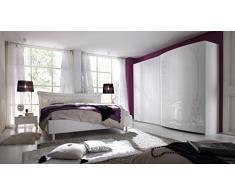 Matelpro-Commode design laquée blanche avec sérigraphie 1 porte/3 tiroirs Esteline