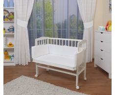 WALDIN Lit cododo pour bébé/berceau avec matelas et tour de lit,8 variantes disponible, blanc laqué,blanc