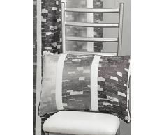 HomeMaison HM69C202987 Coussin en Jacquard Design à Rayures Verticales Gris 30 x 60 cm