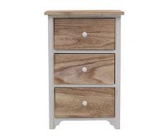 Mobili Rebecca® Table de Nuit 3 tiroirs Table de Chevet Bois Naturelle Blanc Vintage (Cod. RE4460)