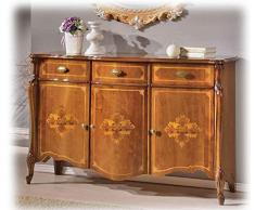 Meuble Buffet Enfilade 3 Portes Marquetées et 3 tiroirs, Style Classique, fabriqué en Bois, Largeur 154 cm