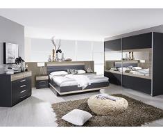 Matelpro-Commode contemporaine 6 tiroirs gris/chêne clair Djaneiro