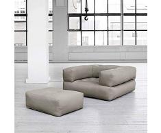 mds Cubic, Un Fauteuil futon Convertible : en Pouf ou en lit Confortable et Douillet, Version Adultes - Sable