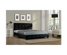 Concept Usine - Lit Notting Hill - Cadre de lit en simili capitonné Noir - 140x190cm