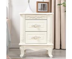 Table de Chevet Bois Massif Blanc Table de Chevet Chambre à Coucher Vitrine d'angle Meuble de Rangement