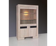 Vitrine 2 portes design couleur bois et noir laqué