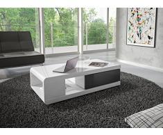 Table de salon design coloris blanc laqué et gris