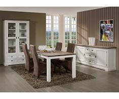 Matelpro-Salle à manger complète contemporaine coloris havana/blanc Kiaro II-Table 220 cm