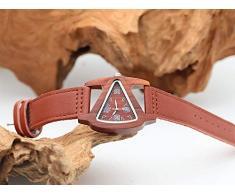 X-HH 0 Montre en Bois, en Bois Table Triangulaire en Bois Rouge Couple Watch, Creative Quartz Main 0 (Color : B)