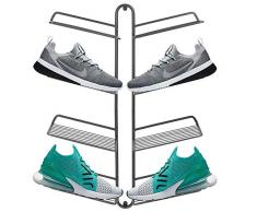 mDesign rangement chaussures – étagère chaussure murale moderne pour quatre paires de baskets, chaussures de sport, etc. – gain despace part rapport à une armoire chaussures – gris