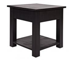 Table d' appoint pin brut de sciage noir, H 47 x L 45 x P 45 cm - PEGANE -