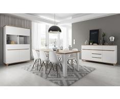 Salle à manger complète LIER scandinave blanc et bois