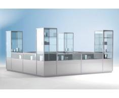 Vitrine modulaire d'angle LINK - vitré aux 2/3, 3 tablettes - h x l x p 1900 x 1000 x 1000 mm - comptoir comptoir modulaire comptoirs comptoirs modulaires module de comptoir modules de comptoir réception vitrine vitrines Comptoir Comptoir de services