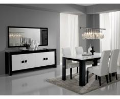 Matelpro-Salle à manger design laquée noire et blanche Dali-table 160 cm