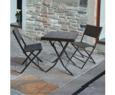 Trueshopping Gina Ensemble de bistrot Table de bistrot carrée pliante Osier polyrattan 60 cm avec deux chaises pliantes