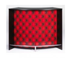 Simmob - Meuble Bar - Comptoir d'Accueil 2 Portes Noir - Coloris - Capitons Rouges 922