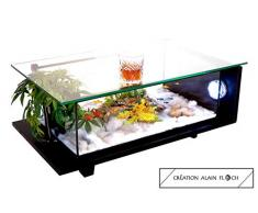 Table Basse 100% FAIT-MAIN Création DRAGON 75 CM (Noir) en Hévéa Massif - 20 LED Aquarium Entretien facile 1 Seul Changement Partiel d'Eau par mois grâce au Filtre interne