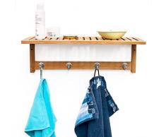 Relaxdays Étagère Porte-Serviette Porte-Manteau Mural avec rangement en Bambou métal H x l x P 50 x 18 x 16 cm avec 4 crochets en bois salle de bain garde-robe pour le couloir salle de bain, nature