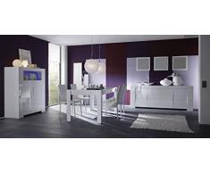 Matelpro-Salle à manger complète design blanc laqué Judy-Sans éclairage-Table 180 x 90 cm