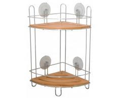 Tablette d'étagère de coin pour douche-etagère d'angle en bambou et chrome avec ventouses