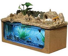 ZHUYUE Magnifique Bureau Aquarium Table Fish Tank Décoration Humidification Paysage Naturel Décoration dintérieur Fontaine (Taille: 47.5x23.5x27cm) (Size : 47.5x23.5x27cm)