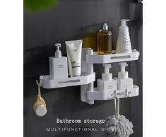 KGHEBN Supports muraux, Table Triangulaire, Support de Rangement Multifonctionnel pour Salle de Bains avec Support pour sèche-Cheveux,White