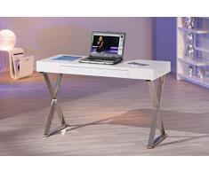 Table de bureau design blanc laqué et métal chromé