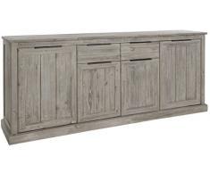 Ensemble salle à manger complète en bois massif coloris gris clair cérusé avec vitrine éclairée