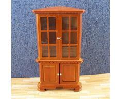 Unbekannt Maison de poupée Vitrine/Buffet d'angle Bois Meuble Divers. Couleurs Miniatures, 1:12 - Braun-Kirsche
