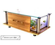 Table Basse 100% FAIT-MAIN Création Design EXTRAVAGANTE (Miel) - Table de salon 72 LED Aquarium Terrarium Entretien facile 1 Seul Changement Partiel d'Eau par mois grâce au Filtre interne