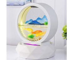 KOIUJ Bureau en verre Fontaine d'eau d'aquarium Cascade d'eau Décor intérieur Caractéristiques Salon Table basse Bureau Petit Mini Fontaines (Couleur: Blanc)