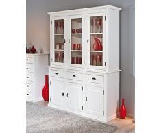 Vaisselier rustique en pin massif coloris blanc