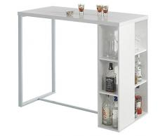 Table haute de bar mange-debout comptoir IBIZA MDF décor blanc mat