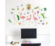 ZBYLL Mural Flamingo Porche Salle à Manger Salon penderie Armoire Murale Stickers Paper