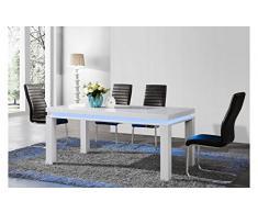 Table à manger laquée blanche avec LED modulable