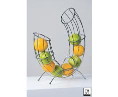Casablanca Corbeille à fruits toboggan en métal chromé Argenté hauteur 43 cm