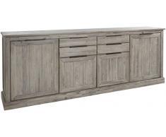 Ensemble salle à manger complète en bois massif coloris gris clair cérusé avec vitrine éclairée 124 cm