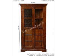 Armoire d'angle avec vitrine - Bois massif d'acacia laqué (Miel) - Style colonial - OXFORD #0410
