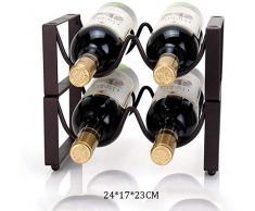 Amoureux du vin Mobilier de bar& Wine Rack Sous Vitrine d'angle en métal Petit rangement ornement stand Cuisine Sous-sol Bar Maison 4 Bouteille de vin rack