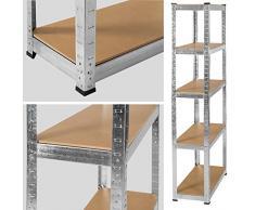 TecTake Étagère charge lourde 350kg metallique de rangement à 5 tablettes 180x75x30cm en acier bois 70 kg par niveau