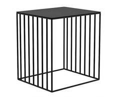 ZGONGLQQ Tables de Chevet, Table de Chevet en Fer forgé, Meuble dangle vitrine Minimaliste Moderne pour la Maison, pour Salon/Chambre/Bureau, 4 Couleurs Disponibles (Couleur: Noir)