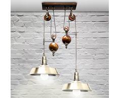 Lustre Lampe de suspension 2 ampoules avec système de poulie Plafonnier antique