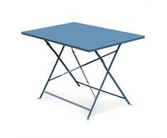 Alice's Garden - Salon de jardin bistrot pliable - Emilia rectangulaire bleu grisé - Table rectangulaire 110x70cm avec quatre chaises pliantes, acier thermolaqué, chaises avec lames incurvées pour plus de confort