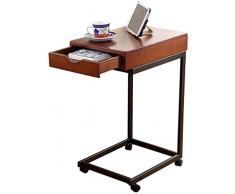 Table basse moderne Simple Petit Canapé ronde en bois massif Enfilade Salon dangle Support for ordinateur portable avec tiroir (Color : B)
