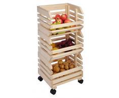 Fruits Horde en bois avec roues - Caisse à fruits en bois massif - rollbares Fruits Étagère