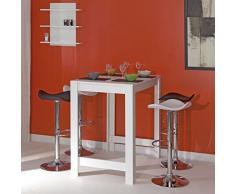 CURRY Table bar L110 cm piétement + plateau blanc