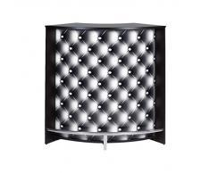 Simmob SNACK106NO911 Capitons 911 Meuble Bar/Comptoir de Cuisine/Meuble d'Accueil Bois Noir 53,3 x 106,9 x 104,8 cm