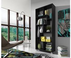 Home innovation - Étagère bibliothèque design Salon-Salle à manger, Noir mate, Dimensions : 68,5 x 161 x 25 cm de profondeur.