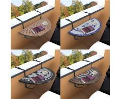 Table de balcon suspendue Demi-circulaire Terre cuite Blanc