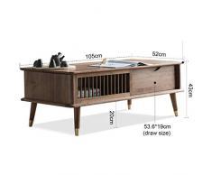 table basse Moderne Table basse Noyer Noir Salle de séjour Table à thé Vitrine Table d'angle Unité d'affichage de stockage